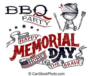 Memorial Day greeting card barbecue invitation