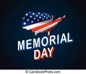Memorial Day greeting card. Waving national flag of United States of America in perspective