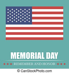 Memorial Day greeting card with USA flag. Vector illustration