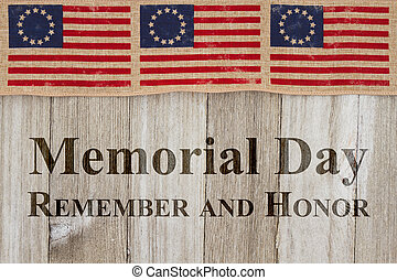 Memorial Day greeting, USA patriotic old Betsy Ross flag and...