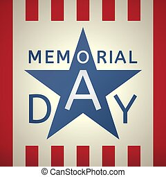 Memorial Day grunge retro background  with the emblem in the form of a white star