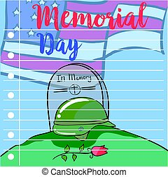 Memorial day hand draw greeting card