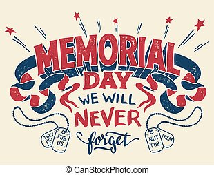 Memorial Day hand lettering greeting card - Memorial Day. We...