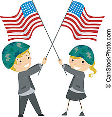 Memorial Day - Illustration of Kids Waving US Flags