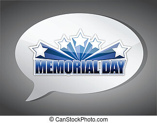memorial day message chat illustration design