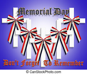 3D Image and Illustration patriotic composition for Memorial day graphic stars and stripes with cross American Flag ribbon bow and text.