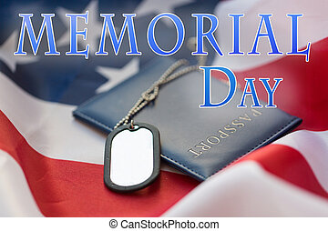 dog tag or badge and passport on american flag - memorial...
