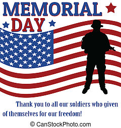 Memorial day poster with soldier over flag background,...