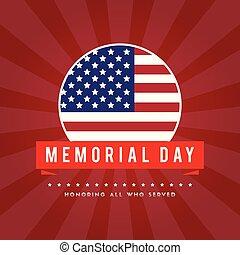 Memorial day poster gretting flag american
