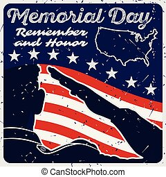 Memorial day poster template. US Army soldiers saluting on american flag background. Vector illustration