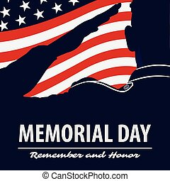 Memorial day poster template. US Army soldiers saluting on american flag background. Vector illustration.