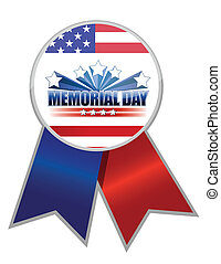 Memorial Day ribbon with the American flag colors isolated...