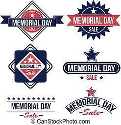 Memorial day sale badges - Vector set of Memorial day sale...