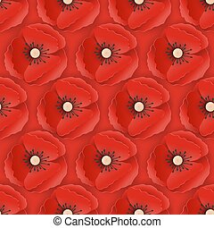 Memorial Day Seamless Pattern with Paper Cut Out Red Poppy Flowers. Poppies Background Symbol of Piece Remembrance Anzac Day. Vector illustration