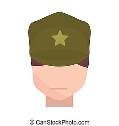 memorial day soldier with character military american celebration flat style icon