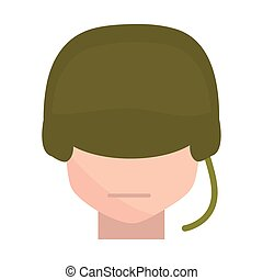 memorial day soldier with helmet character american celebration flat style icon