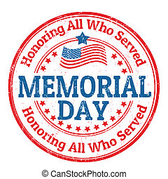 Grunge rubber stamp with the text Memorial day written inside, vector illustration