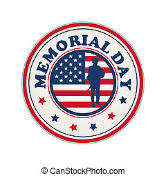 Memorial Day stamp with flag of USA and soldier silhouette over white background