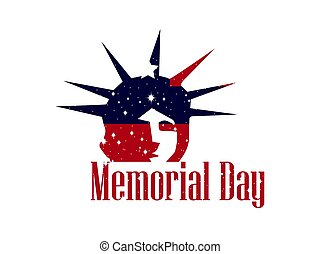 Memorial Day. Statue of Liberty on a white background. Banner template. Vector illustration