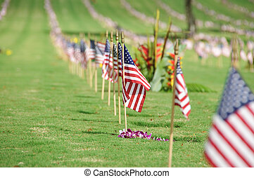 Memorial Day - The flag of the United State of America at...