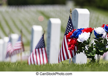 Memorial Day - veterans cemetery memorial celebration with...