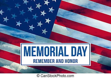 Memorial Day text written on a sky background with American flag