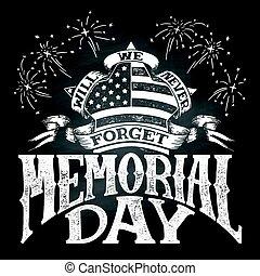 Memorial Day vintage chalkboard illustration