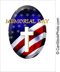 memorial day with cross - oval old glory with cross and...