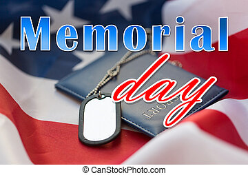 memorial day words on american flag and dog tags