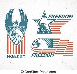 memorial, eagle., tipográfico, ilustração, day., bandeira,...