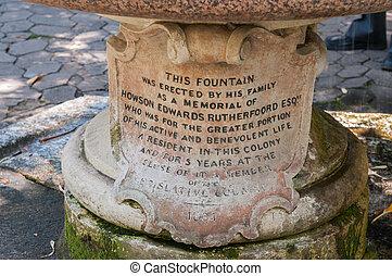 Memorial fountain in the Company Garden