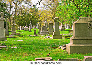 Memorial grave markers at historic Spring Grove Cemetery in ...