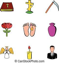 Memorial icons set, cartoon style