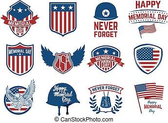 memorial, jogo, eagle., bandeira, emblemas, day., americano, desenho, mercado de zurique