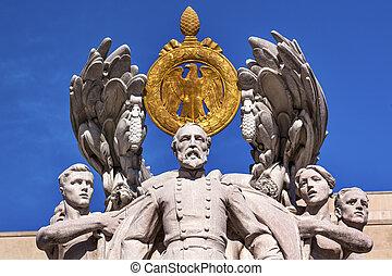 memorial, lavando, guerra civil, pensilvânia, gordon, estátua, ave, george