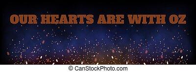 Memorial lettering over burning flying fire sparks - ...