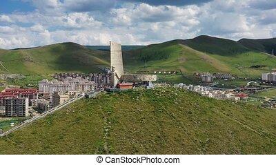 Aerial around view of Memorial to Soviet soldiers on Zaisan Tolgoi in Ulaanbaatar, Mongolia, 4k