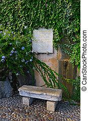 Memorial plaque to the greek poet and writer Nikos Kazantzaki (1