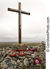 Memorial to the dead of HMS Coventry sunk near here on 25th May 1982 - Pebble Island in West Falkland in the Falkland Islands (Islas Malvinas).