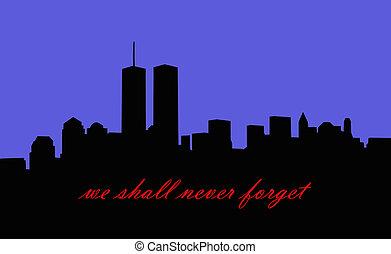 memorial to september 11th 2001 - new york city skyline...