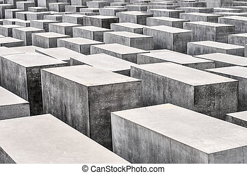 A view on the Holocaust Memorial in Berlin. There are 2,711 concrete blocks. It reminds on the murdered Jews of Europe. It is located in the heart of Berlin.