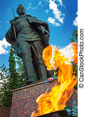 Memorial to tomb of soldiers died in WWII in Zvenigorod, Russia