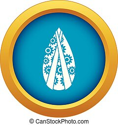 Memorial wreath icon blue vector isolated on white...