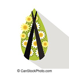 Memorial wreath icon, flat style