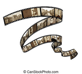 memorias, -, retro, foto, filmstrip