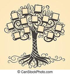 memorias, vector, árbol, con, foto
