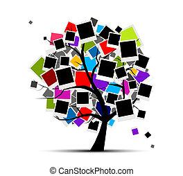 memorie, albero, con, cornici foto, per, tuo, disegno,...