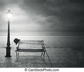 Beautiful vintage artistic imagine at the sea at night in black and white