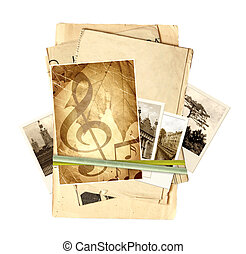 Memories - Frame with old paper and photos. Objects isolated...
