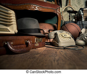 Memories from the attic - Group of vintage objects on attic...
